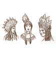 native americans isolated sketch portraits vector image