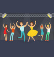 night party young people dancing in club cartoon vector image