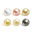 realistic different colors pearls set vector image