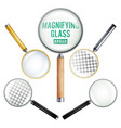 realistic magnifying glass set of vector image vector image