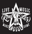 rock and roll hand sign with star inscription vector image