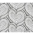 seamless background hand drawn hearts vector image