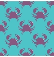 Seamless pattern with violet crab on blue vector image vector image