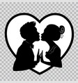 silhouettes of lovers on transparent background vector image vector image