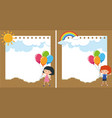 two background with kids and balloons vector image vector image
