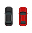 two cars black and red view from above vector image vector image