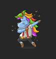 unicorn worker dabbing dance vector image vector image