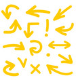 yellow arrow icon set isolated on white background vector image