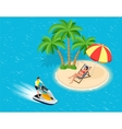 Young Man on Jet Ski Tropical Ocean Creative vector image vector image