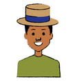 young man with hat avatar character vector image vector image