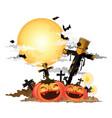 scarecrow and halloween pumpkin vector image