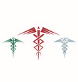 set of abstract caduceus vector image