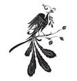 Black silhouette of fire-bird vector image