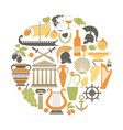 greece travel sightseeing icons and vector image