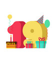19 year birthday sign 19th template greeting card vector image vector image