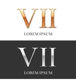 7 VII Luxury Gold and Silver Roman numerals vector image