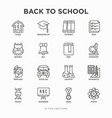back to school thin line icons set vector image vector image