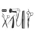 Barber shop elements for logo labels and vector image vector image