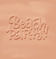 beach party banner new trendy realistic sand vector image vector image