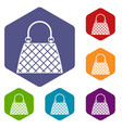 beautiful bag icons set hexagon vector image vector image