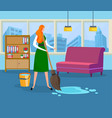 beautiful young woman doing wet cleaning at home vector image