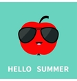 Big red apple fruit wearing sunglasses Cute vector image vector image