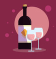 bottle of wine with cups vector image