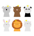 bunny rabbit hare lion koala bear cat face head vector image