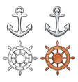 cartoon character anchor and sea wheel isolated on vector image vector image