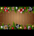 christmas bright wooden background fir branches vector image vector image