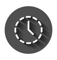 clock time icon in flat style with long shadow vector image vector image