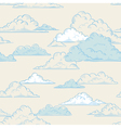 clouds seamless pattern hand-drawn vector image vector image