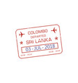colombo visa stamp sri lanka border control vector image vector image