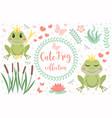 cute frog princess character set objects vector image vector image