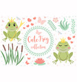 cute frog princess character set of objects vector image vector image