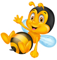 Cute little bee cartoon waving hand vector image