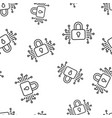 cyber security icon seamless pattern background vector image vector image