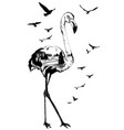 double exposure flamingo bird wildlife concept vector image