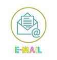 e-mail round bright linear icon with envelope vector image