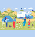 family picnic outdoor on countryside background vector image