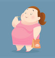 fat woman is enjoy eating many junk foods vector image vector image