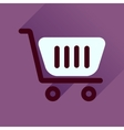Flat icon with long shadow shopping cart