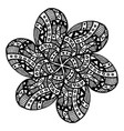 floral ornament single black flower with petals vector image