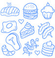 food various object of doodle set vector image vector image