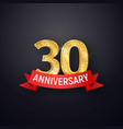 golden numbers thirtieth anniversary with red vector image vector image