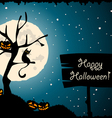 halloween tree cat moon vector image vector image