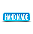 Hand made blue 3d realistic square isolated button vector image vector image