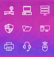 hardware icons line style set with router mouse vector image