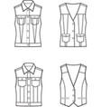 jean vest set vector image vector image