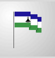 lesotho waving flag creative background vector image vector image